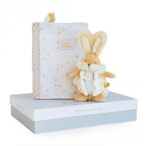 Doudou et compagnie - DC3497 - Lapin de sucre blanc - coffret protège carnet de santé + doudou  - taille  cm (399748)