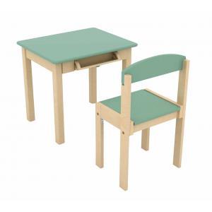 Bass et Bass - B83100 - Table Enfant en Bois avec Rouleau de Papier & Chaise - Vert Celadon (402214)