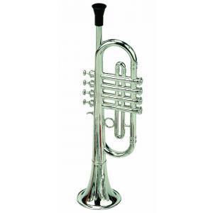 Bass et Bass - B06545 - Trompette à 4 Pistons en Plastique Métalisé 38 Cm - Fabriqué en Allemagne - Instrument de Musique pour enfant (402224)