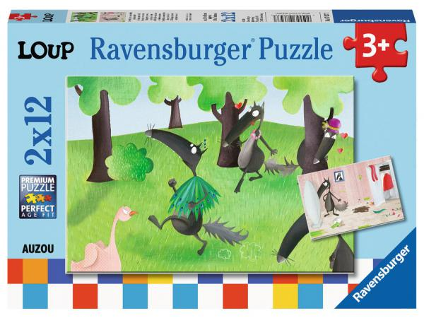 Puzzles 2x12 pièces - le loup qui voulait changer de couleur