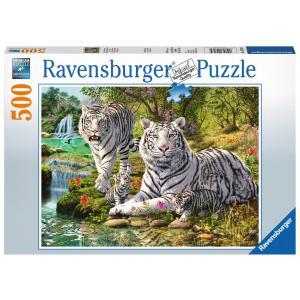 Ravensburger - 14793 - Puzzle 500 pièces - Famille de tigres blancs (403912)
