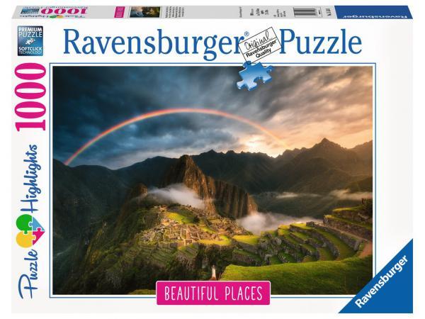 Puzzle 1000 pièces - arc-en-ciel sur le machu picchu, pérou (puzzle highlights)