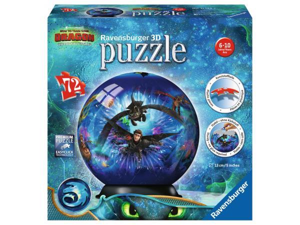 Puzzle 3d rond 72 pièces - dragons 3