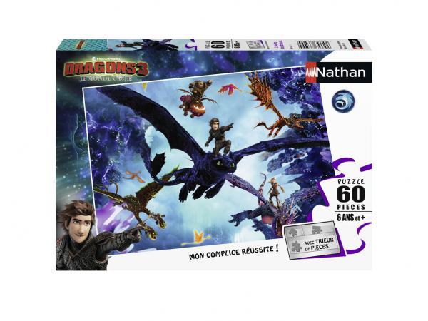 Puzzle 60 pièces - l'équipe des dragons / dragons 3