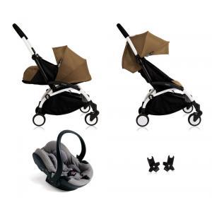 Babyzen - Bu114 - Poussette Yoyo+ complète cadre blanc habillages 0+ et 6+ Toffee et siège auto iZi Go Modular gris (405758)