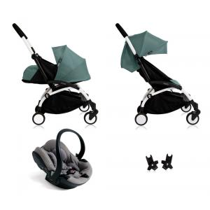Babyzen - Bu116 - Poussette Yoyo+ complète cadre blanc habillages 0+ et 6+ Aqua et siège auto iZi Go Modular gris (405762)