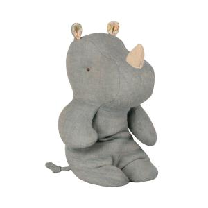 Maileg - 16-9921-00 - Safari friends, Small rhino - Dove blue  - Taille 22 cm - de 0 à 36 mois (406570)