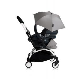 Babyzen - Bu178 - Poussette YOYO+ tout-en-un (cadre blanc) pack naissance Gris siège-auto Izigo Modular noir et ombrelle (406744)