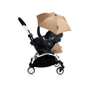 Babyzen - Bu181 - Poussette YOYO+ tout-en-un (cadre blanc) pack naissance Taupe siège-auto Izigo Modular noir et ombrelle (406750)