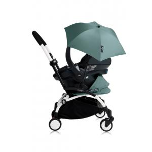Babyzen - Bu182 - Poussette YOYO+ tout-en-un (cadre blanc) pack naissance Aqua siège-auto Izigo Modular noir et ombrelle (406752)
