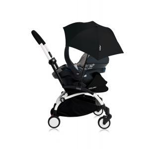 Babyzen - Bu184 - Poussette YOYO+ tout-en-un (cadre blanc) pack naissance Noir siège-auto Izigo Modular gris et ombrelle (406756)