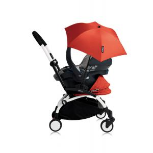 Babyzen - Bu186 - Poussette YOYO+ tout-en-un (cadre blanc) pack naissance Rouge siège-auto Izigo Modular gris et ombrelle (406760)