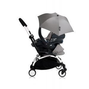 Babyzen - Bu187 - Poussette YOYO+ tout-en-un (cadre blanc) pack naissance Gris siège-auto Izigo Modular gris et ombrelle (406762)