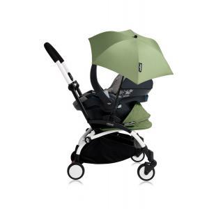 Babyzen - Bu188 - Poussette YOYO+ tout-en-un (cadre blanc) pack naissance Peppermint siège-auto Izigo Modular gris et ombrelle (406764)
