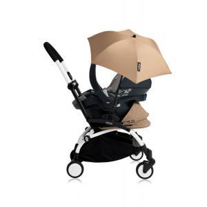 Babyzen - Bu190 - Poussette YOYO+ tout-en-un (cadre blanc) pack naissance Taupe siège-auto Izigo Modular gris et ombrelle (406768)