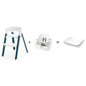 Stokke - BU158 - Promotion Chaise STEPS Bois de hêtre Bleu nuit - Tablette OFFERTE (408620)