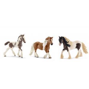 Schleich - bu005 - Figurines de chevaux Tinker (Jument, étalon, poulain) (410416)
