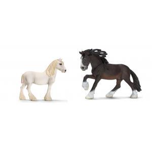 Schleich - bu007 - Figurines de chevaux Shire (Jument, étalon) (410420)