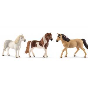 Schleich - bu014 - Figurines de chevaux poney (gallois mâl, Étalon islandais, Connemara femelle) (410434)