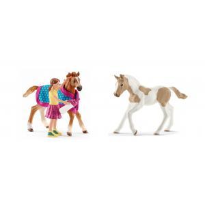 Schleich - bu018 - Figurines de chevaux Poulain (Poulain avec couverture, Paint Horse) (410442)