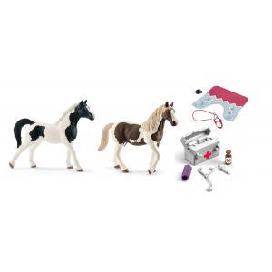 Schleich - bu020 - Figurines de chevaux (pintabian, Pinto) et accessoires ( Pharmacie d'écurie, couverture et licol) (410446)