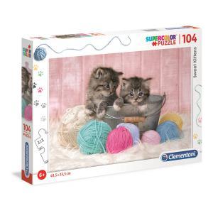 Clementoni - 27115 - Puzzle enfants 104 Pièces - Photo -Chatons et pelotes (410630)
