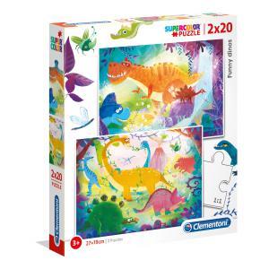 Clementoni - 24755 - Puzzle 2x20 pièces - Dinosaures (Bx2) (410702)