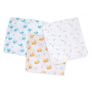 Moulin Roty - 714290 - Set de 3 langes imprimés (renards/baleines/plumes) Le Voyage d'Olga (411166)