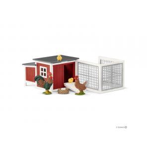 Schleich - bu026 - Figurines Animaux de la ferme ( Poulailler, Poule, Coq) (411932)