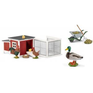 Schleich - bu027 - Figurines Animaux et accessoires de la ferme ( Poulailler, Canard,  Kit de nettoyage) (411934)