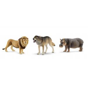 Schleich - bu031 - Figurines Animaux sauvages (Loup, Lion, Hippopotame) (411942)