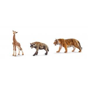 Schleich - bu033 - Figurines Animaux sauvages (Bébé girafe, Tigre du Bengale, Hyène) (411946)
