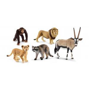 Schleich - bu035 - Figurines  Animaux sauvages (Lion, Lionceau, Raton, Chimpanzé, Oryx) (411950)