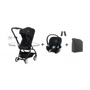 Cybex - BU225 - Poussette Eezy S twist noir + Aton M + travel bag (412452)