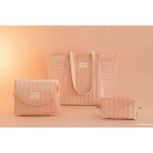 Nobodinoz - N111919 - Sac maternité Savanna velours Bloom pink (413430)