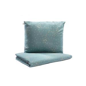 Nobodinoz - N111360 - Housse de couette + taie Himalaya enfant Gold confetti magic green (413610)