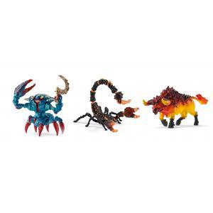 Schleich - bu059 - Figurines fantastiques (scorpion de lave, taureau de feu, crabe de combat avec arme) (413980)