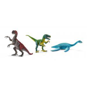 Schleich - bu060 - Figurines dinosaures (jeune therizinosaurus, vélociraptor, plésiosaure) (413982)