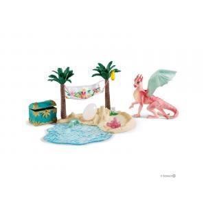 Schleich - bu067 - Figurines monde de bayala (licorne de lune, poulain, ile au trésor avec maman et bébé dragon) (413996)