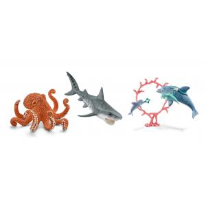 Schleich - bu068 - Figurines animaux marins (pieuvre, dauphin et ses petits, requin tigre) (413998)