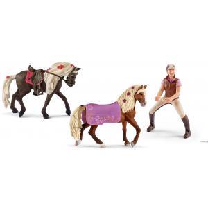 Schleich - bu072 - Schleich set de chevaux équestre avev cavalière amatrice (414006)