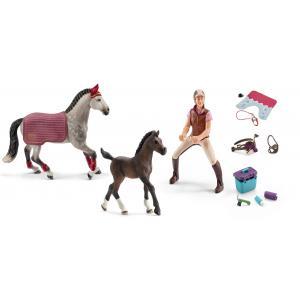 Schleich - bu079 - Figurine cheval jument pinto avec kits de nourriture et de soins (414020)