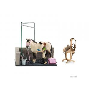 Schleich - bu082 - Box de lavage pour figurine chevaux, pharmacie d'écurie, couverture et licol (414026)