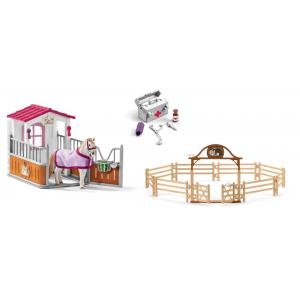 Schleich - bu090 - Box avec jument lusitanienne, manège avec portail, pharmacie d'écurie (414036)