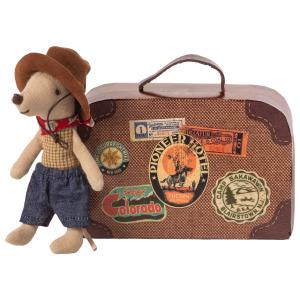 Maileg - 16-9723-01 - Cowboy in suitcase, Little brother mouse - Taille 8 cm - à partir de 36 mois (414716)
