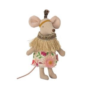 Maileg - 16-9724-01 - Little feather w. tent, Little sister mouse - Taille : 8 cm (414718)