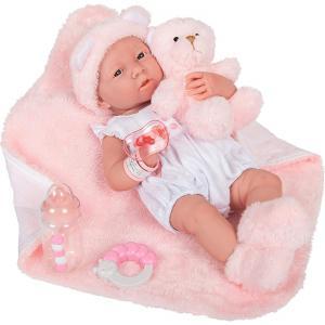 Berenguer - 18061 - Poupée Newborn Fille 38 cm en Caoutchouc avec Habillage Rose à Long et Couverture, Multicolore (415230)