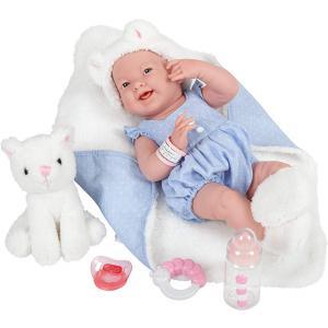 Berenguer - 18062 - All-Vinyl La Newborn Doll in Blue Onesie/White Cat Theme. REAL GIRL! (415232)