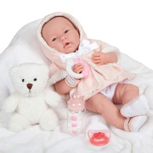 Berenguer - 18065 - All-Vinyl La Newborn Doll in Pink Coat and Outift. REAL GIRL! (415238)