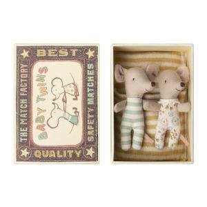 Maileg - BU015 - Set de bébé Poupée souris, jumeaux en boîte avec parc bébé (415536)
